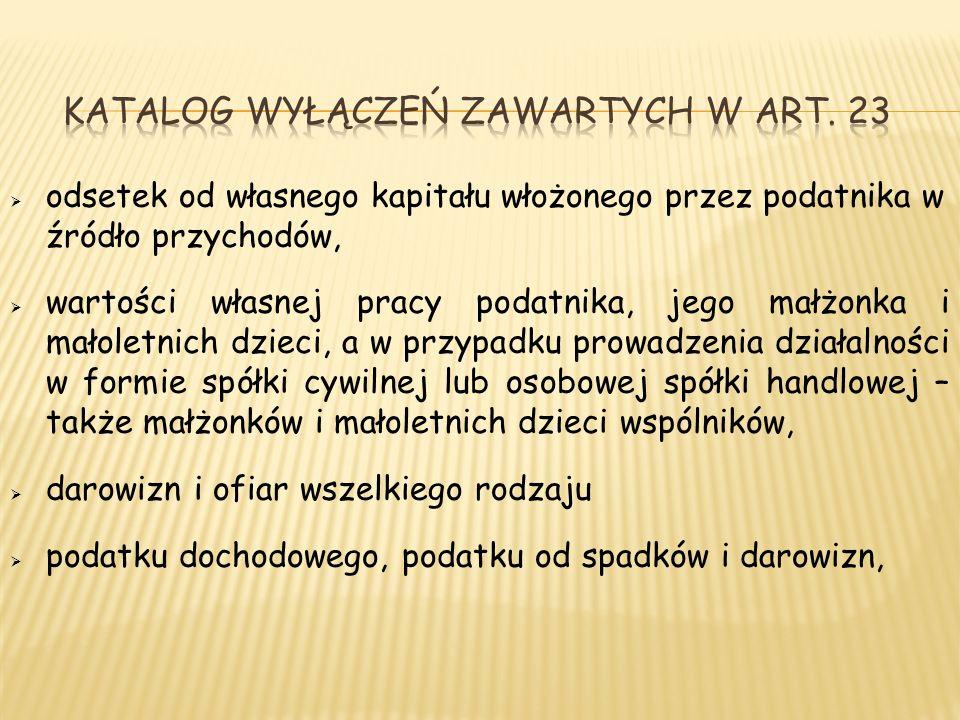 Katalog wyłączeń zawartych w Art. 23