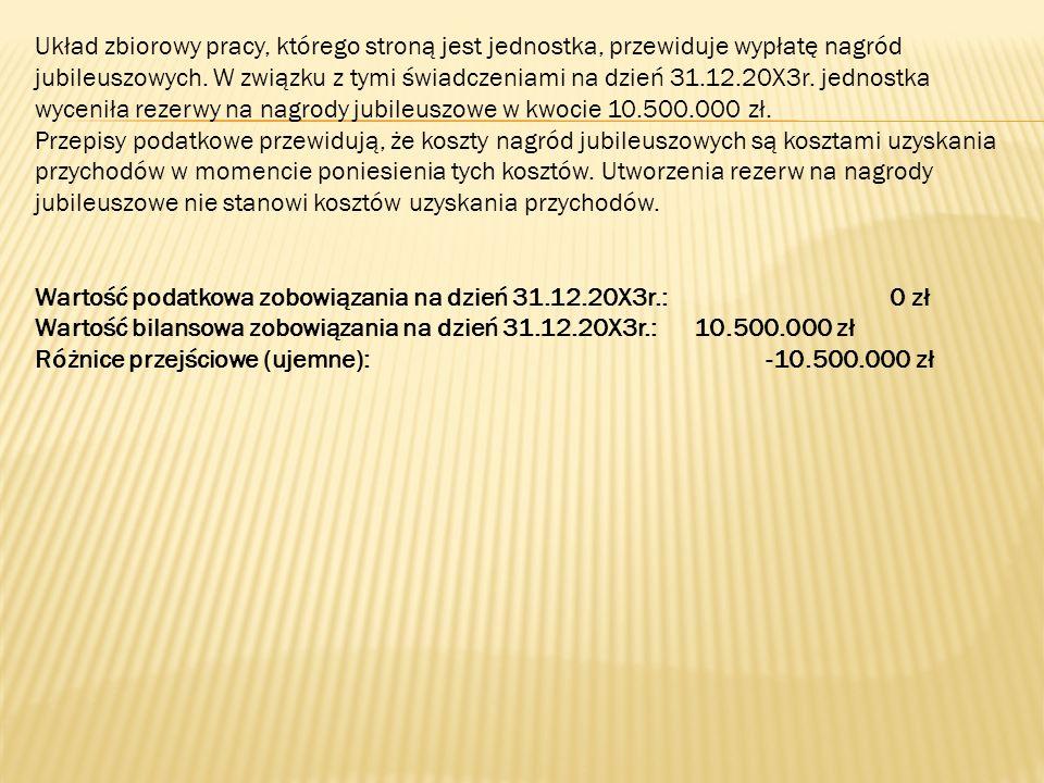 Układ zbiorowy pracy, którego stroną jest jednostka, przewiduje wypłatę nagród jubileuszowych. W związku z tymi świadczeniami na dzień 31.12.20X3r. jednostka wyceniła rezerwy na nagrody jubileuszowe w kwocie 10.500.000 zł.