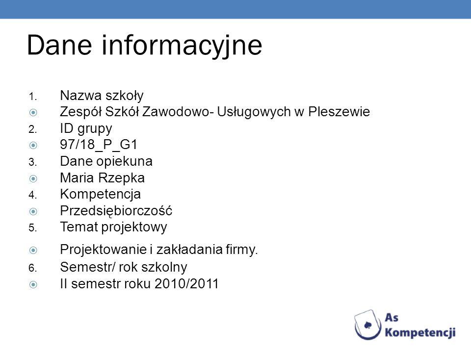 Dane informacyjne Nazwa szkoły