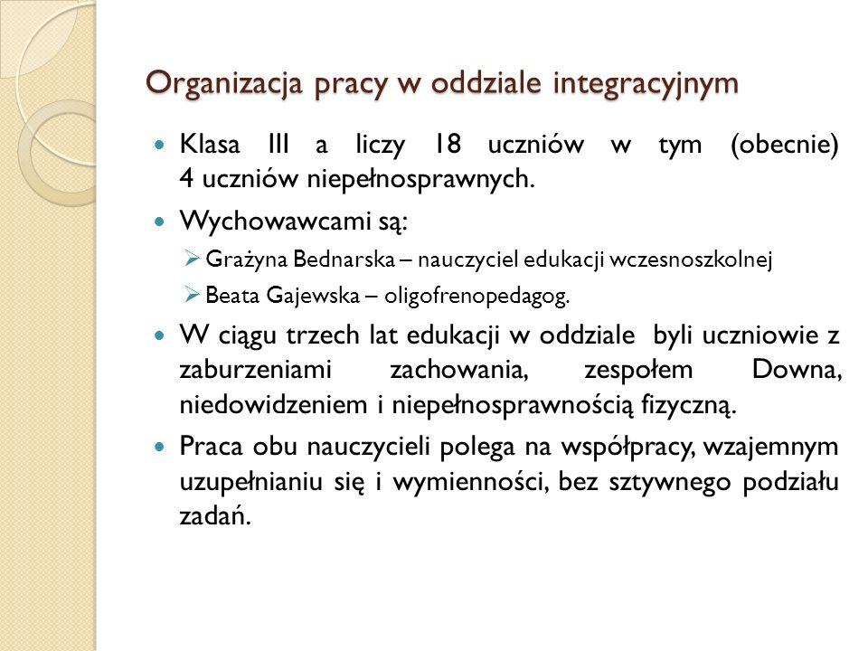 Organizacja pracy w oddziale integracyjnym