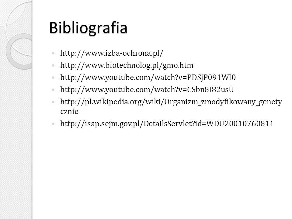 Bibliografia http://www.izba-ochrona.pl/
