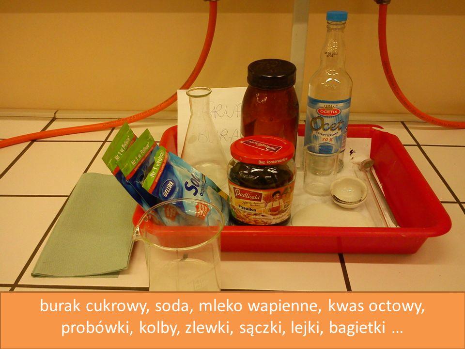 burak cukrowy, soda, mleko wapienne, kwas octowy, probówki, kolby, zlewki, sączki, lejki, bagietki …
