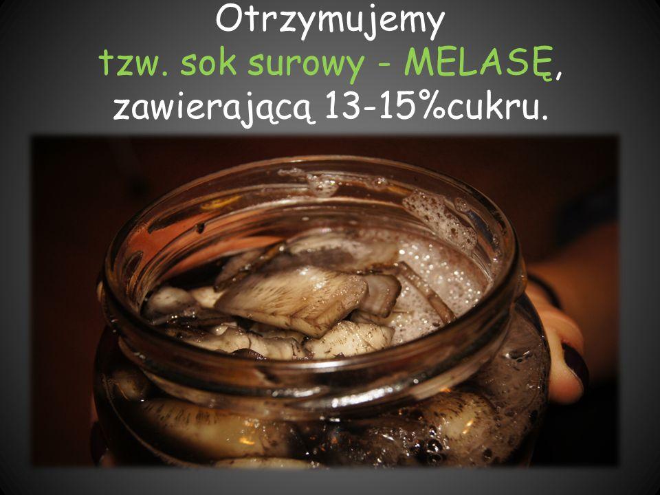 Otrzymujemy tzw. sok surowy - MELASĘ, zawierającą 13-15%cukru.