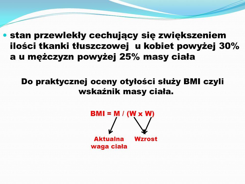 Do praktycznej oceny otyłości służy BMI czyli wskaźnik masy ciała.
