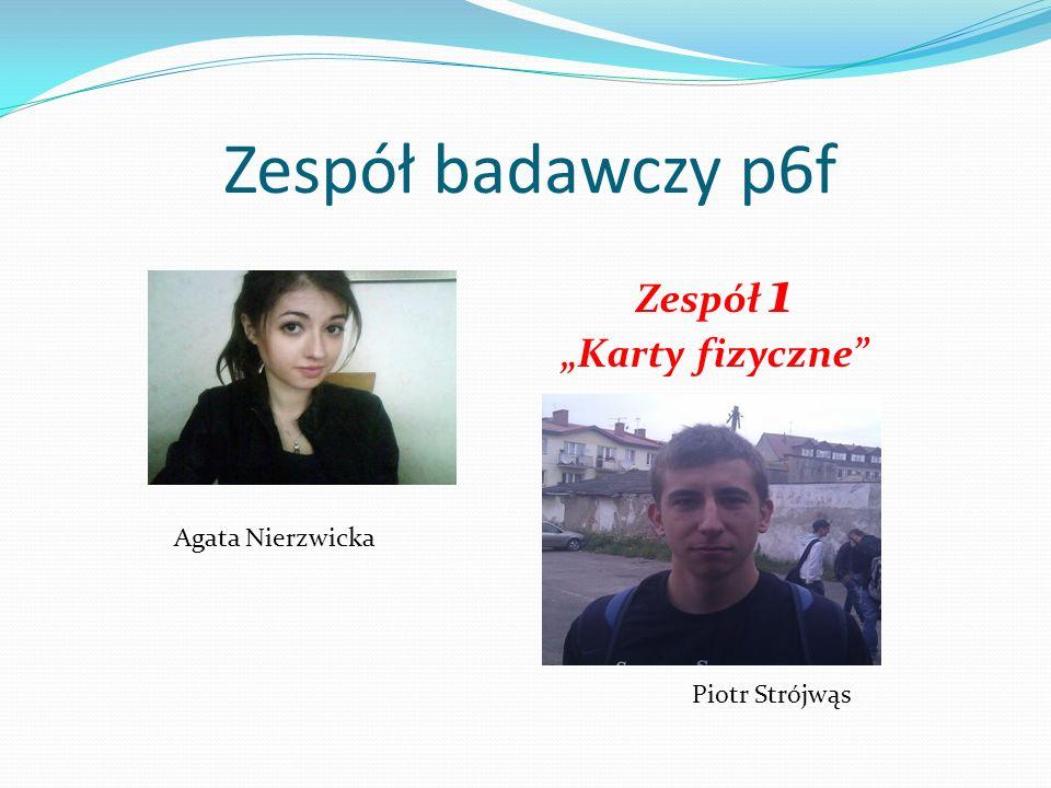 """Zespół badawczy p6f Zespół 1 """"Karty fizyczne Agata Nierzwicka"""