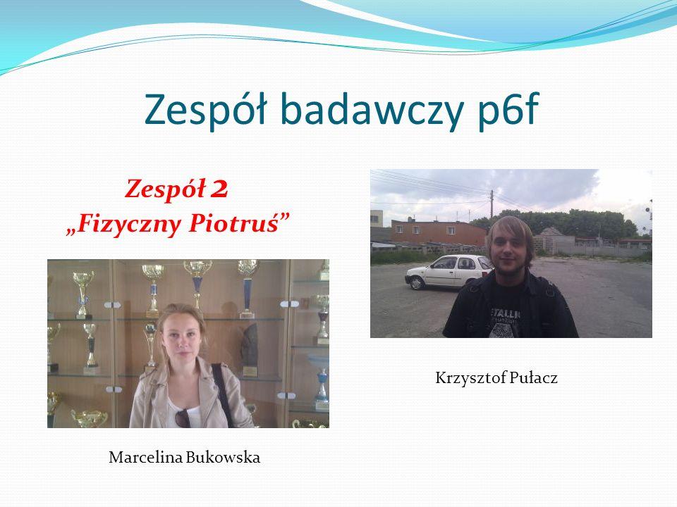 """Zespół badawczy p6f Zespół 2 """"Fizyczny Piotruś Krzysztof Pułacz"""