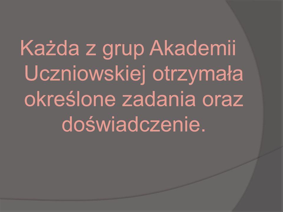 Każda z grup Akademii Uczniowskiej otrzymała określone zadania oraz doświadczenie.
