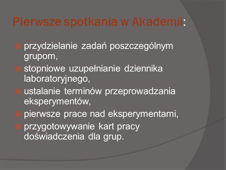 Pierwsze spotkania w Akademii: