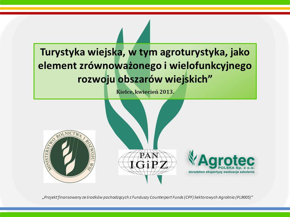 Turystyka wiejska, w tym agroturystyka, jako element zrównoważonego i wielofunkcyjnego rozwoju obszarów wiejskich