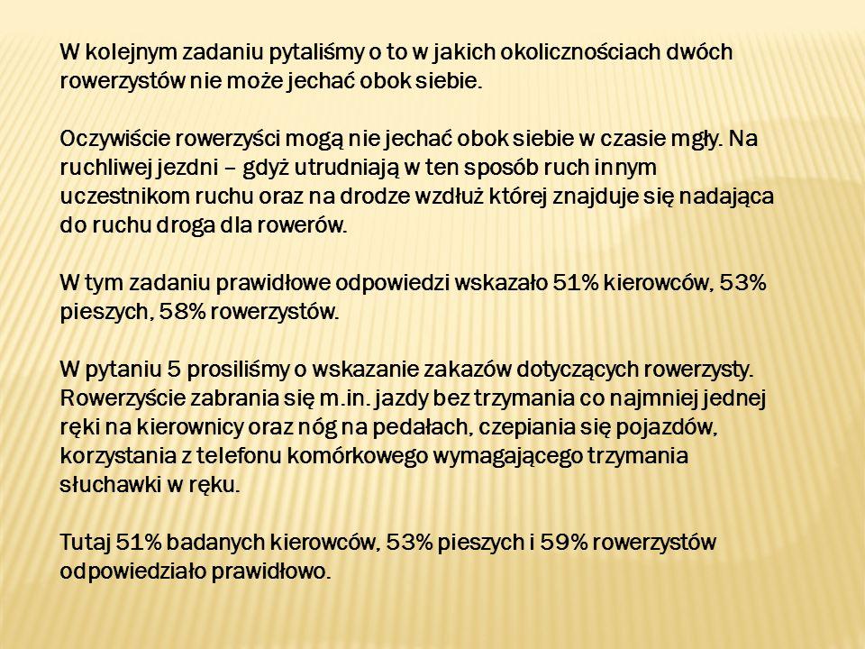 W kolejnym zadaniu pytaliśmy o to w jakich okolicznościach dwóch rowerzystów nie może jechać obok siebie.