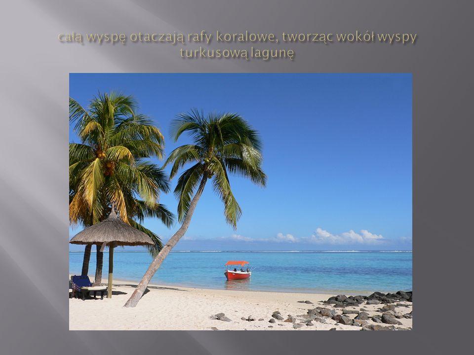 całą wyspę otaczają rafy koralowe, tworząc wokół wyspy turkusową lagunę