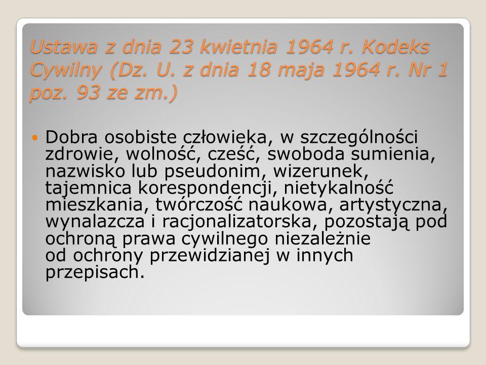 Ustawa z dnia 23 kwietnia 1964 r. Kodeks Cywilny (Dz. U
