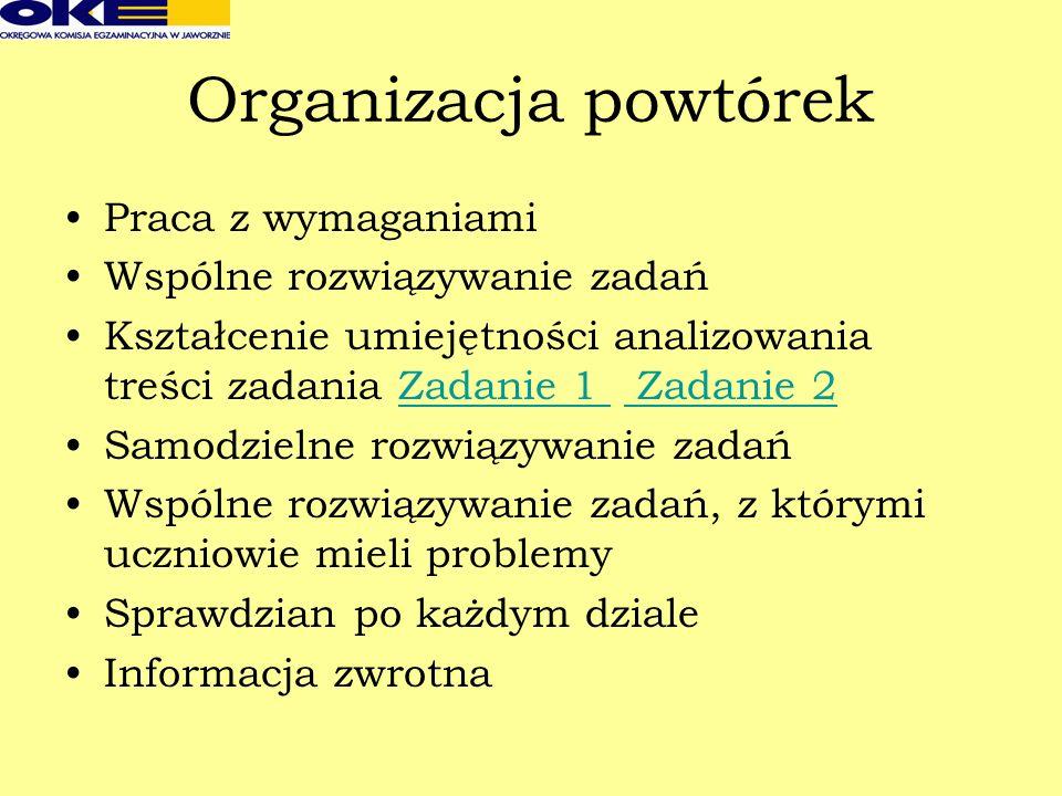 Organizacja powtórek Praca z wymaganiami Wspólne rozwiązywanie zadań