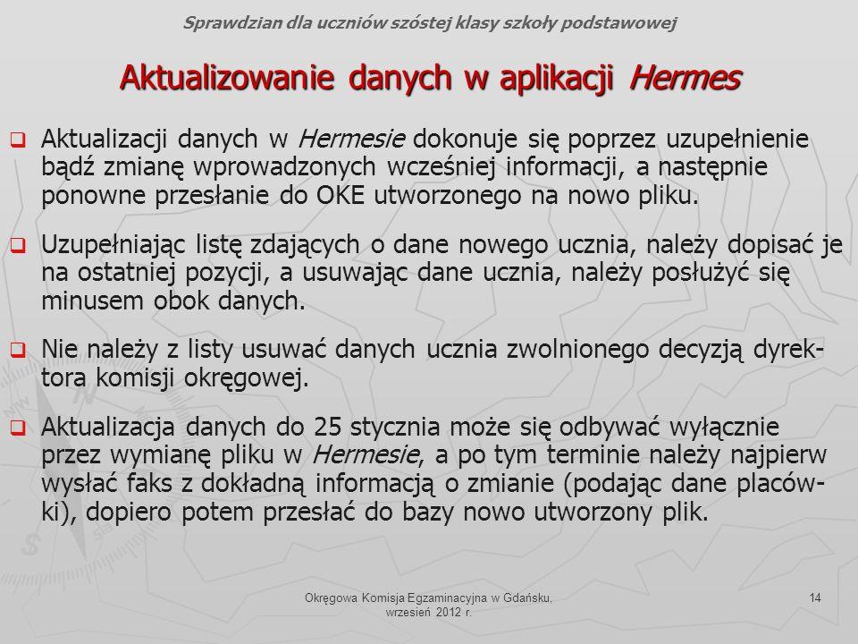 Aktualizowanie danych w aplikacji Hermes