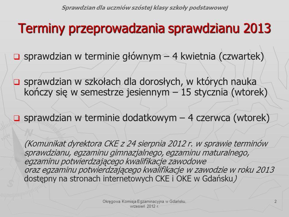 Terminy przeprowadzania sprawdzianu 2013