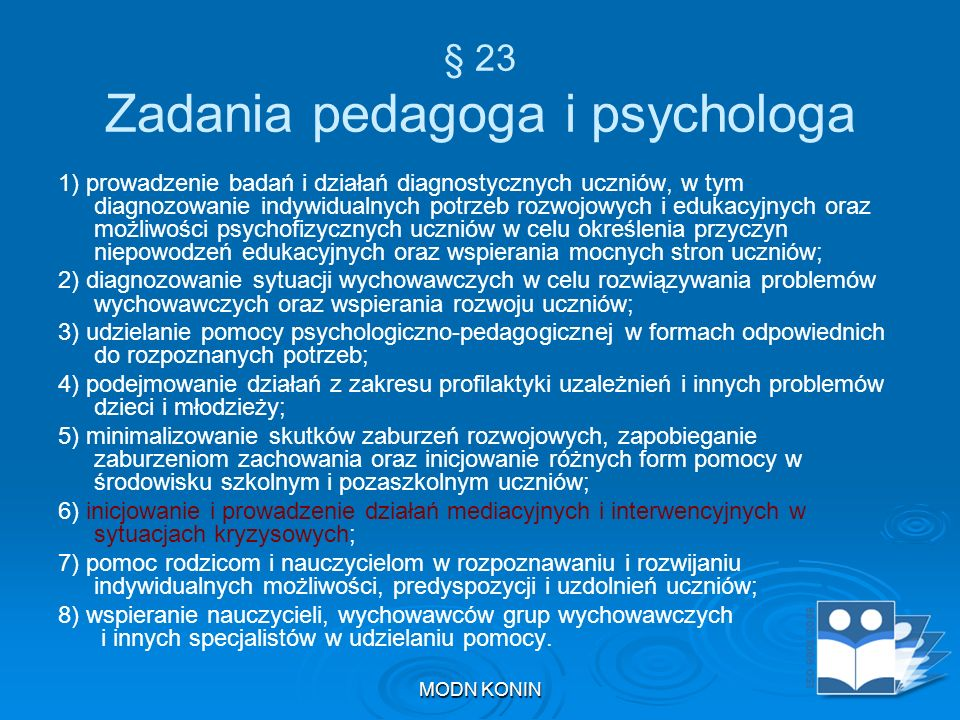 § 23 Zadania pedagoga i psychologa