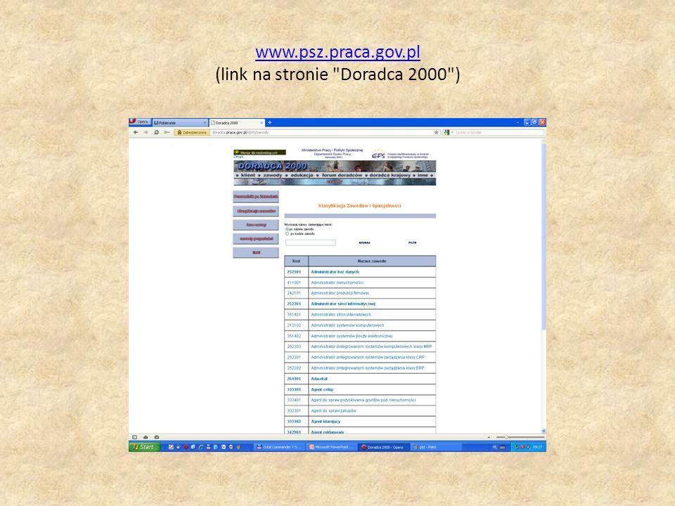 www.psz.praca.gov.pl (link na stronie Doradca 2000 )