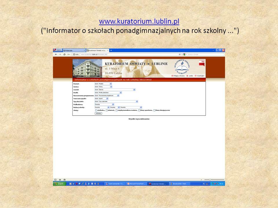 www.kuratorium.lublin.pl ( Informator o szkołach ponadgimnazjalnych na rok szkolny ... )