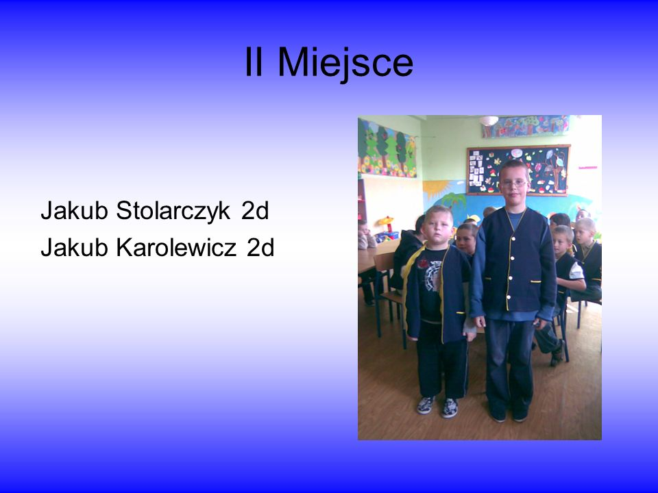 II Miejsce Jakub Stolarczyk 2d Jakub Karolewicz 2d