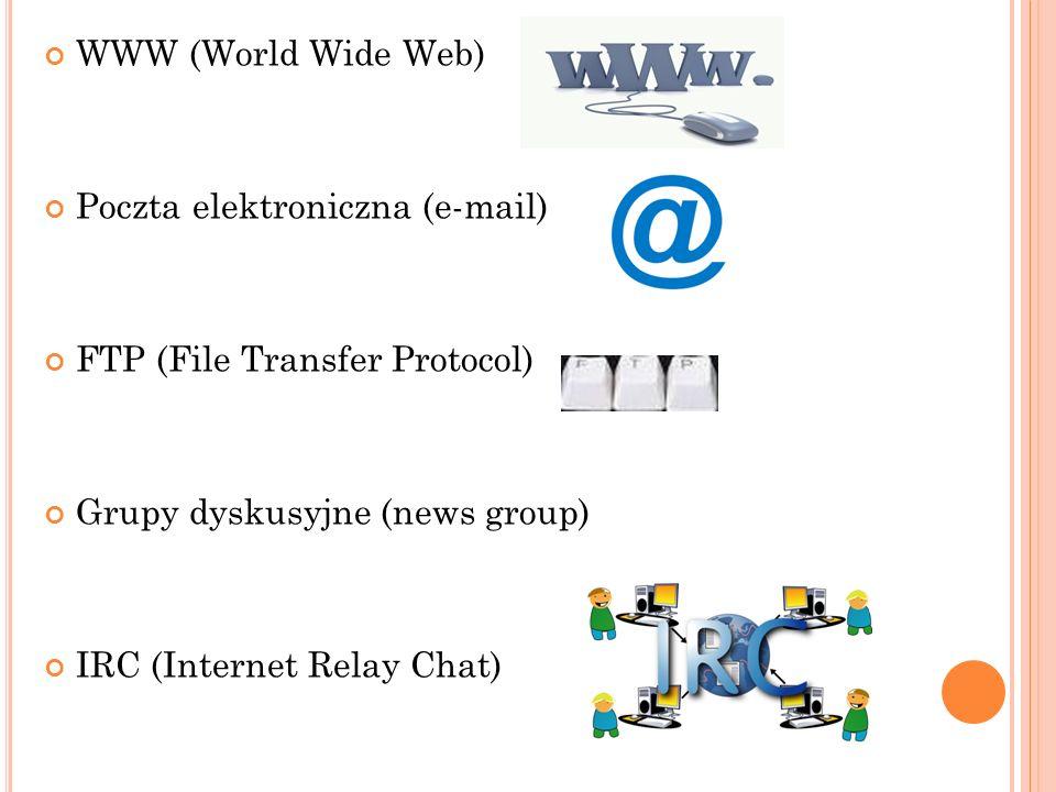 WWW (World Wide Web) Poczta elektroniczna (e-mail) FTP (File Transfer Protocol) Grupy dyskusyjne (news group)