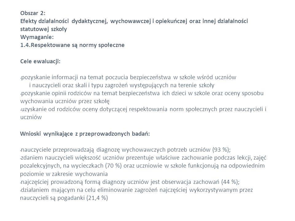 Obszar 2: Efekty działalności dydaktycznej, wychowawczej i opiekuńczej oraz innej działalności statutowej szkoły.