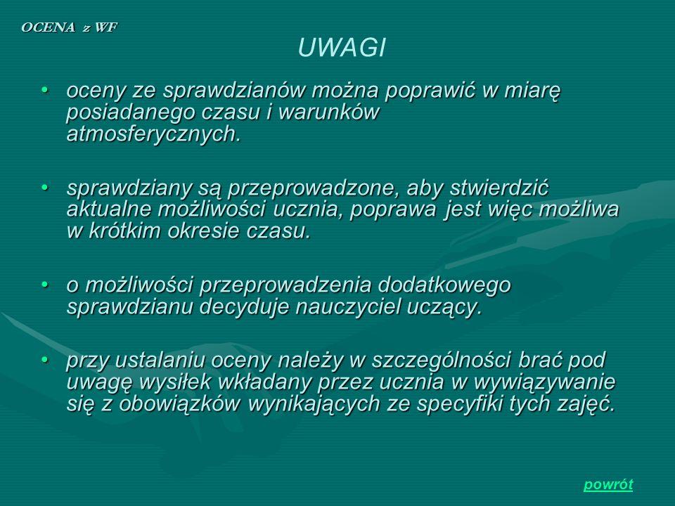 OCENA z WF UWAGI. oceny ze sprawdzianów można poprawić w miarę posiadanego czasu i warunków atmosferycznych.
