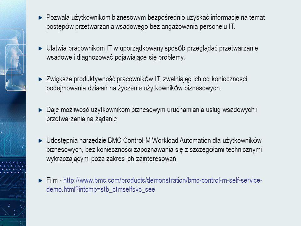 Pozwala użytkownikom biznesowym bezpośrednio uzyskać informacje na temat postępów przetwarzania wsadowego bez angażowania personelu IT.