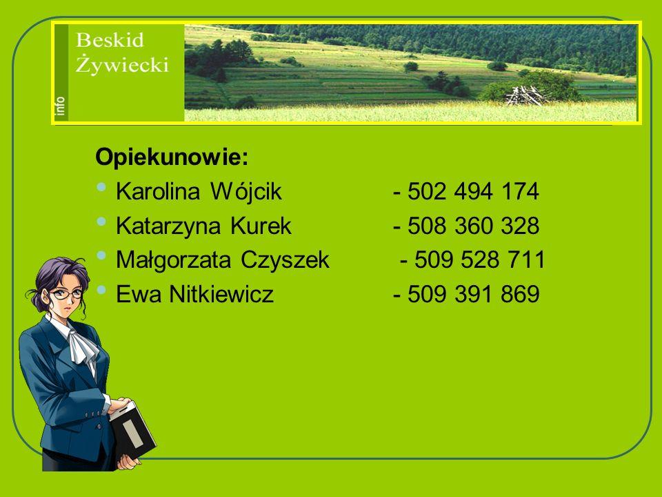 Opiekunowie: Karolina Wójcik - 502 494 174. Katarzyna Kurek - 508 360 328. Małgorzata Czyszek - 509 528 711.