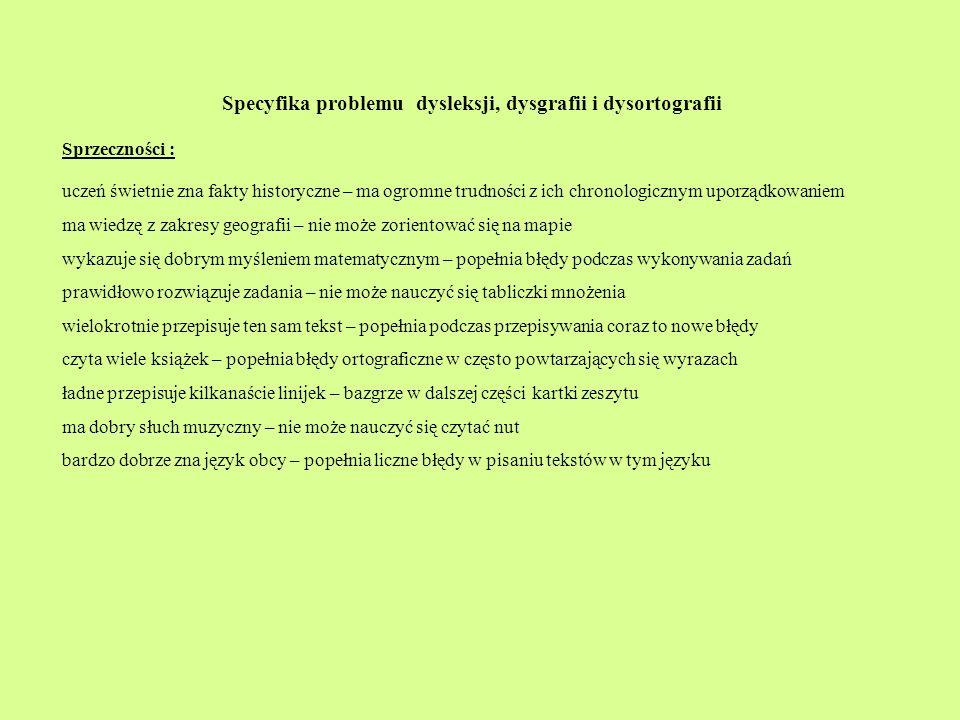 Specyfika problemu dysleksji, dysgrafii i dysortografii
