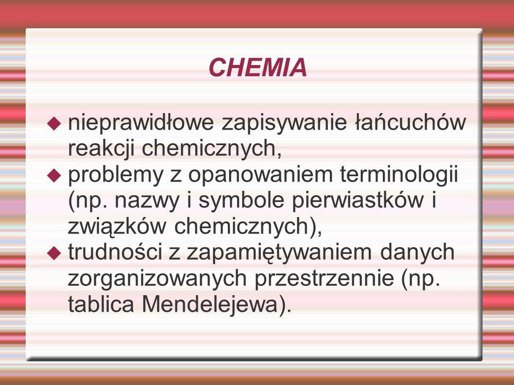 CHEMIA nieprawidłowe zapisywanie łańcuchów reakcji chemicznych,