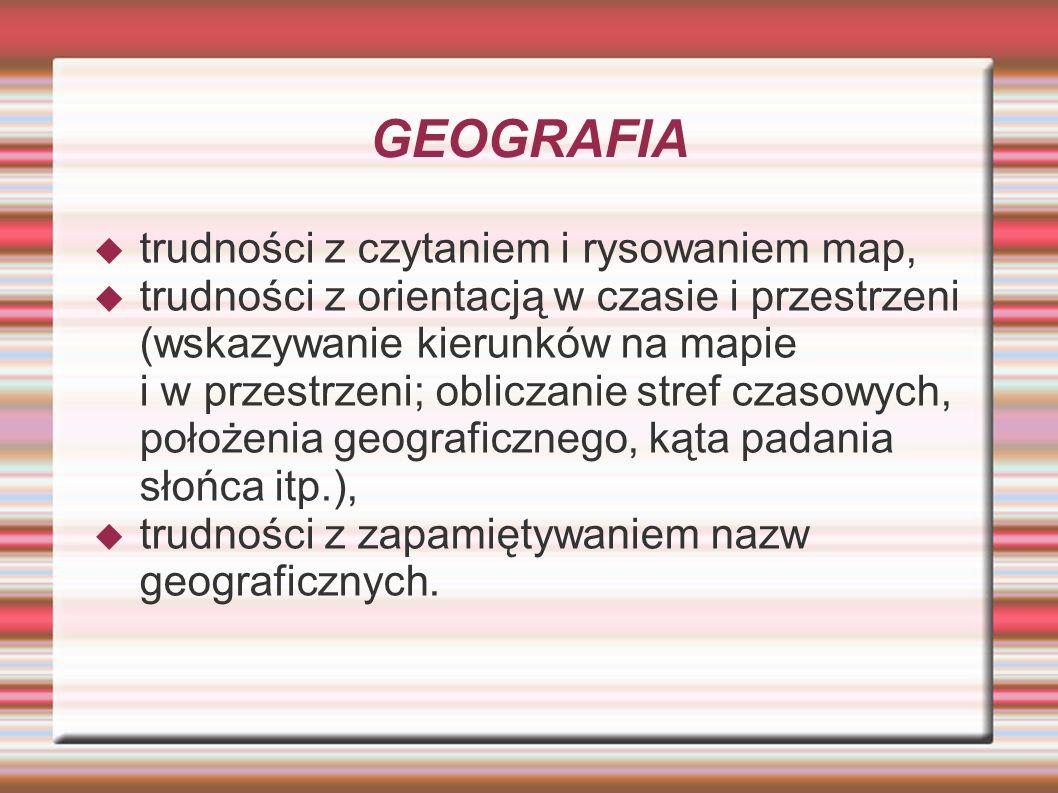 GEOGRAFIA trudności z czytaniem i rysowaniem map,