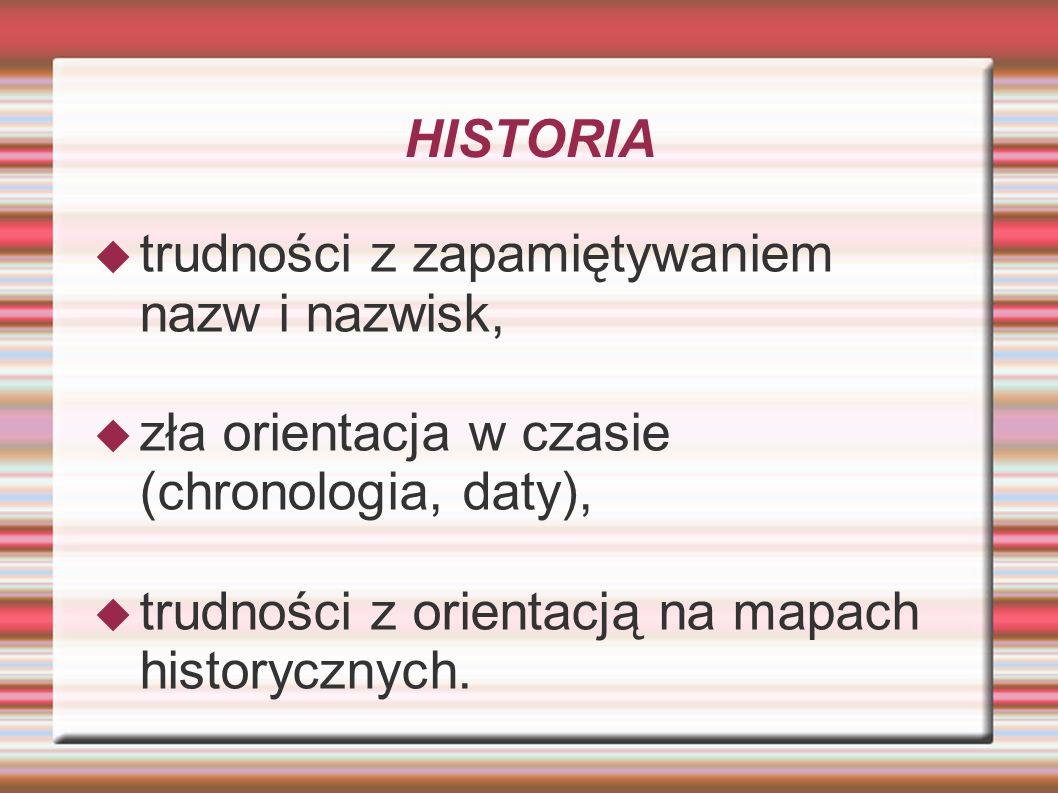 HISTORIAtrudności z zapamiętywaniem nazw i nazwisk, zła orientacja w czasie (chronologia, daty), trudności z orientacją na mapach historycznych.