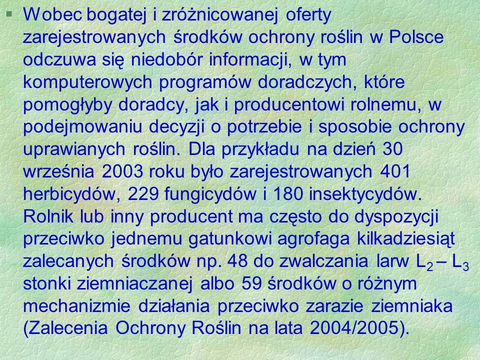 Wobec bogatej i zróżnicowanej oferty zarejestrowanych środków ochrony roślin w Polsce odczuwa się niedobór informacji, w tym komputerowych programów doradczych, które pomogłyby doradcy, jak i producentowi rolnemu, w podejmowaniu decyzji o potrzebie i sposobie ochrony uprawianych roślin.