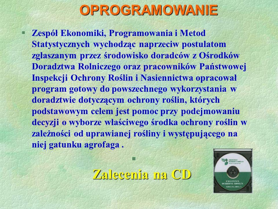 OPROGRAMOWANIE Zalecenia na CD