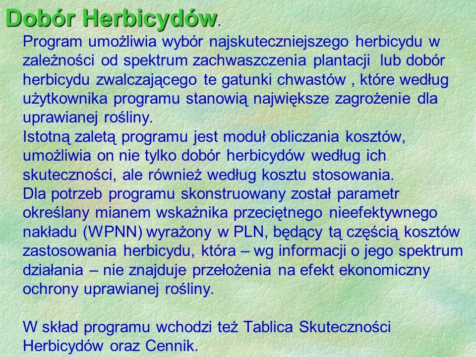 Dobór Herbicydów.