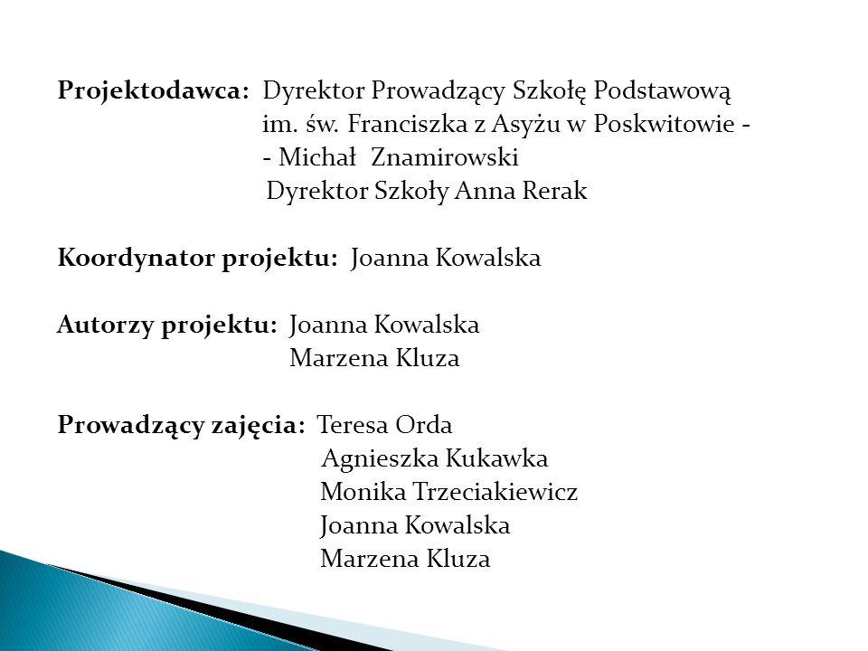 Projektodawca: Dyrektor Prowadzący Szkołę Podstawową im. św