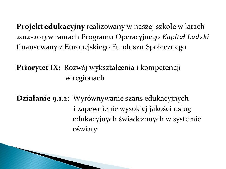 Projekt edukacyjny realizowany w naszej szkole w latach 2012-2013 w ramach Programu Operacyjnego Kapitał Ludzki finansowany z Europejskiego Funduszu Społecznego Priorytet IX: Rozwój wykształcenia i kompetencji w regionach Działanie 9.1.2: Wyrównywanie szans edukacyjnych i zapewnienie wysokiej jakości usług edukacyjnych świadczonych w systemie oświaty