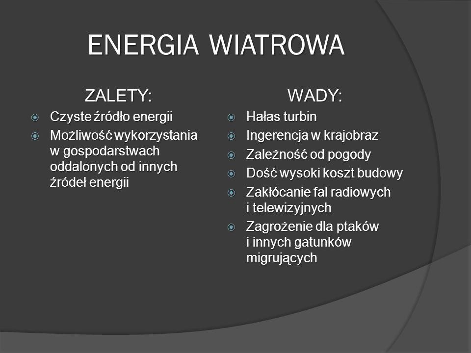 ENERGIA WIATROWA ZALETY: WADY: Czyste źródło energii