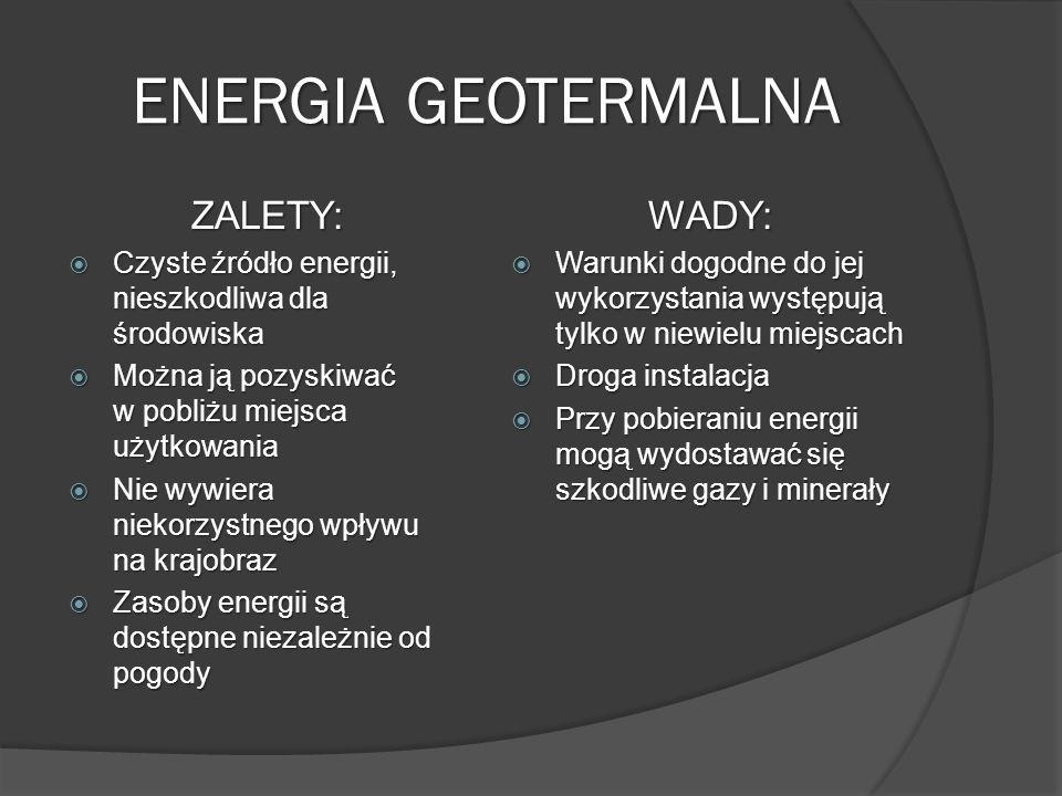 ENERGIA GEOTERMALNA ZALETY: WADY: