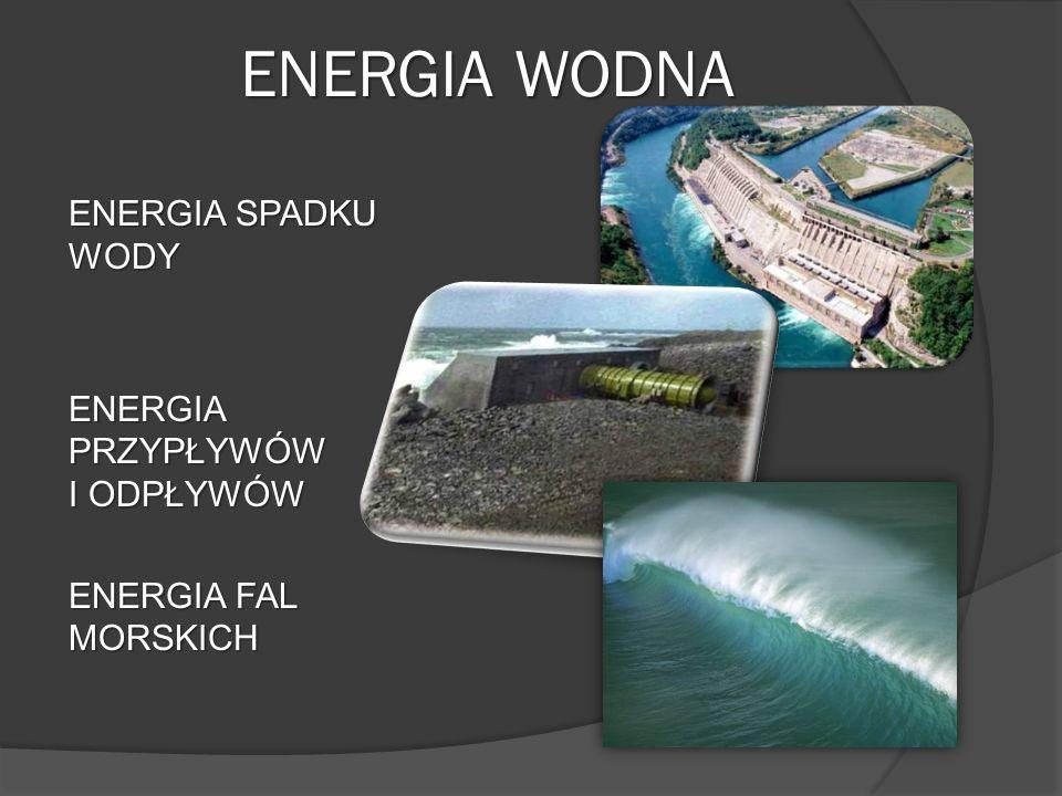ENERGIA WODNA ENERGIA SPADKU WODY ENERGIA PRZYPŁYWÓW I ODPŁYWÓW ENERGIA FAL MORSKICH