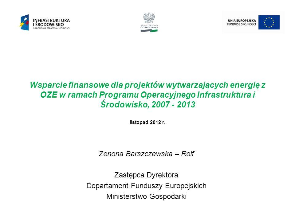 Wsparcie finansowe dla projektów wytwarzających energię z OZE w ramach Programu Operacyjnego Infrastruktura i Środowisko, 2007 - 2013 listopad 2012 r.