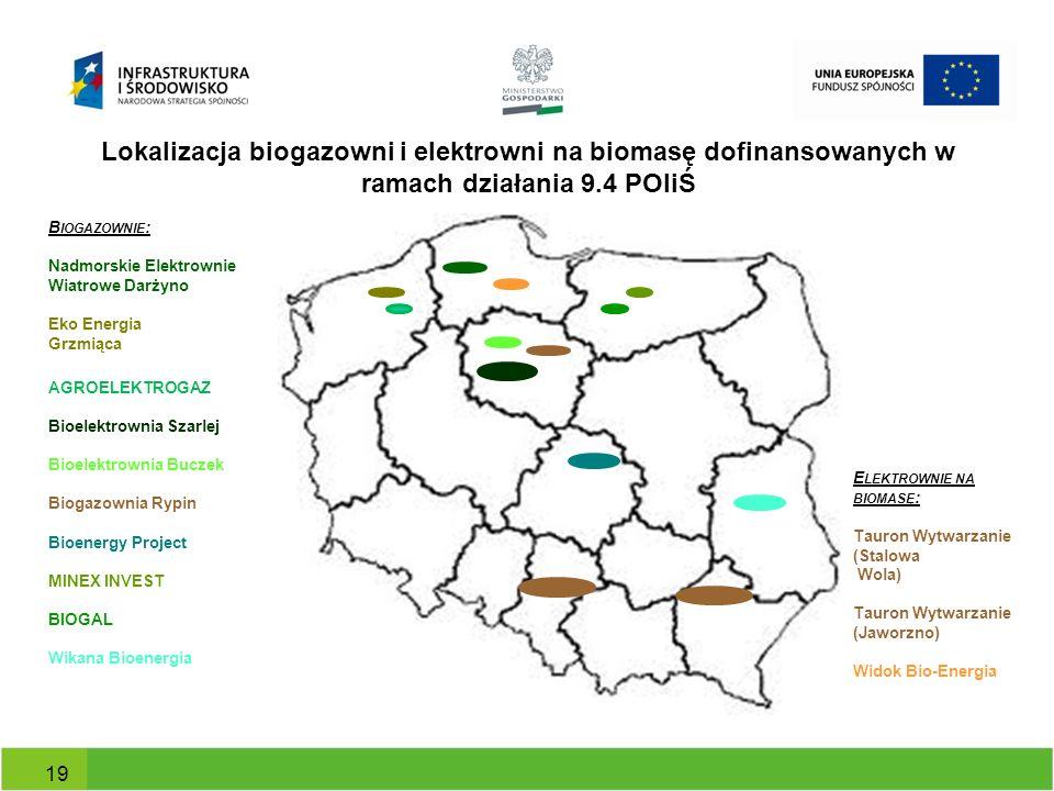 Lokalizacja biogazowni i elektrowni na biomasę dofinansowanych w ramach działania 9.4 POIiŚ