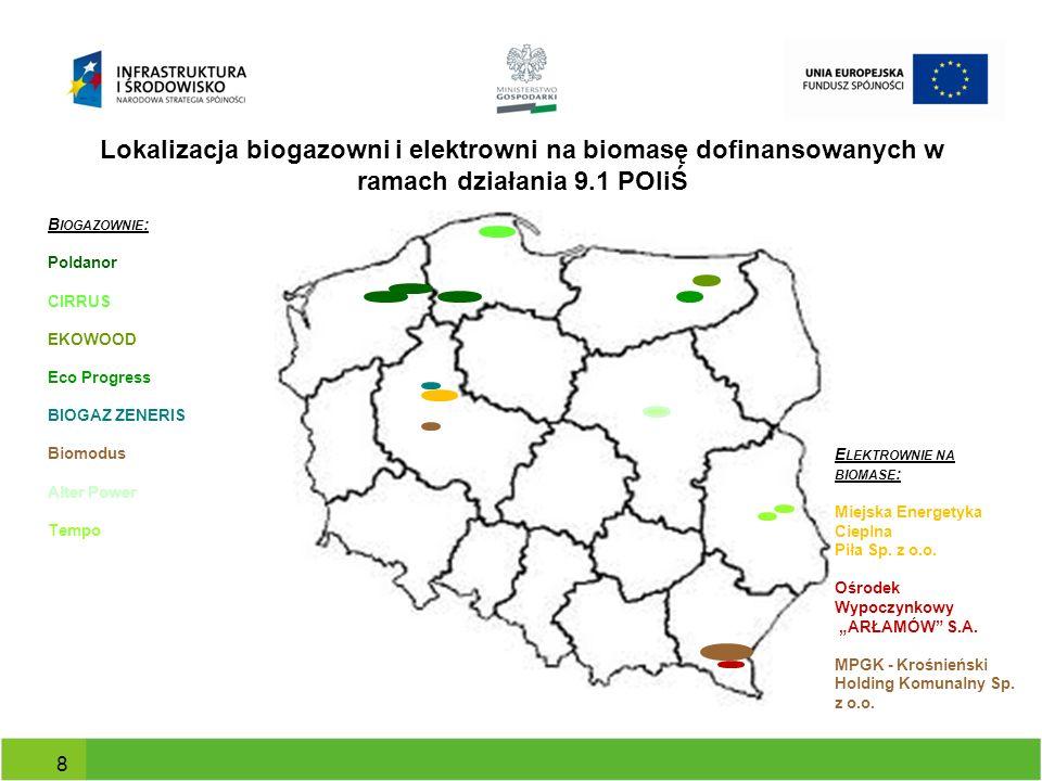 Lokalizacja biogazowni i elektrowni na biomasę dofinansowanych w ramach działania 9.1 POIiŚ