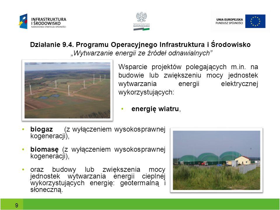 """Działanie 9.4. Programu Operacyjnego Infrastruktura i Środowisko """"Wytwarzanie energii ze źródeł odnawialnych"""