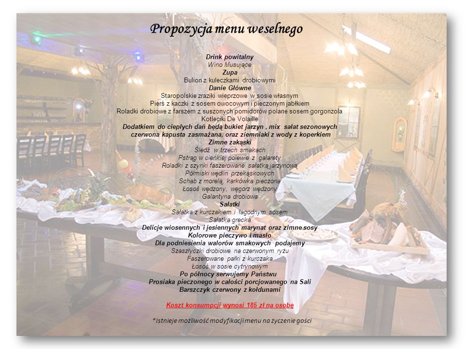 Propozycja menu weselnego