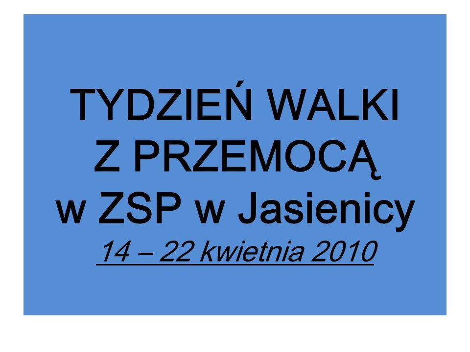 TYDZIEŃ WALKI Z PRZEMOCĄ w ZSP w Jasienicy 14 – 22 kwietnia 2010