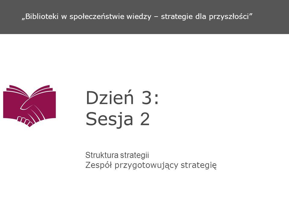 Dzień 3: Sesja 2 Struktura strategii Zespół przygotowujący strategię