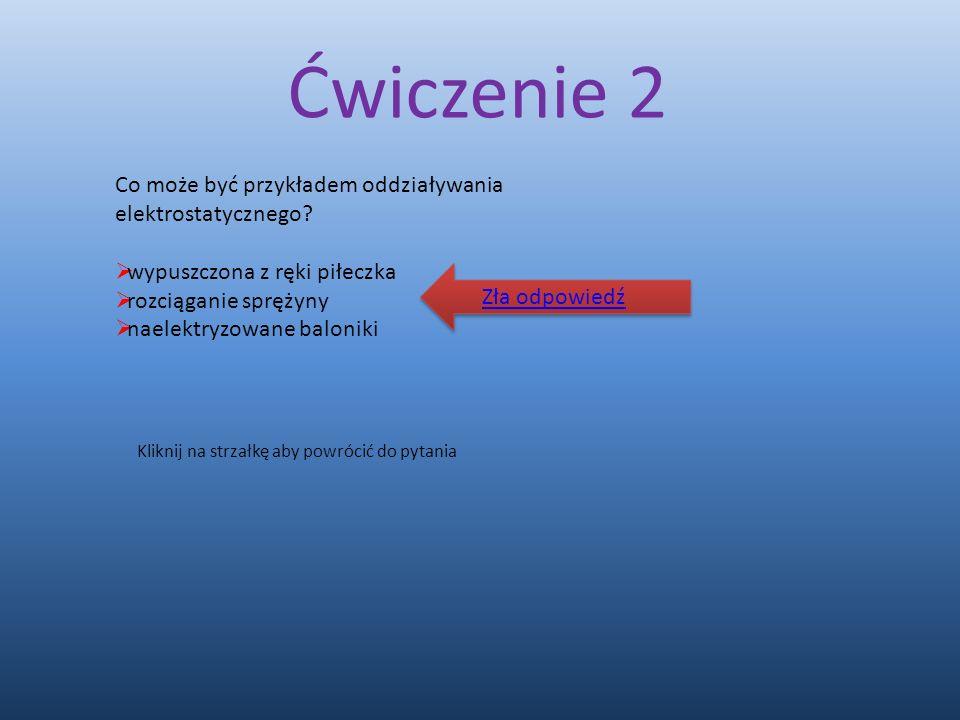 Ćwiczenie 2 Co może być przykładem oddziaływania elektrostatycznego