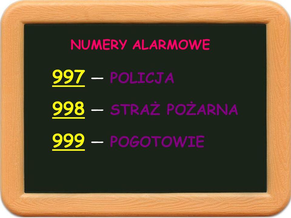 NUMERY ALARMOWE 997 — POLICJA 998 — STRAŻ POŻARNA 999 — POGOTOWIE