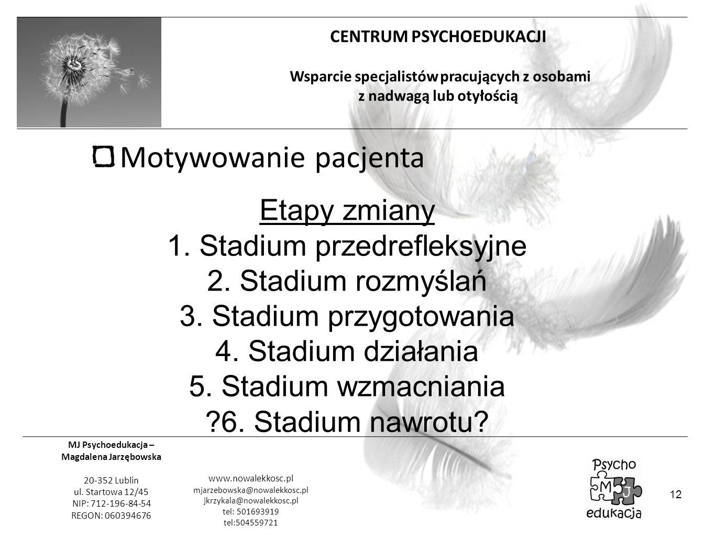 Motywowanie pacjenta Etapy zmiany 1. Stadium przedrefleksyjne